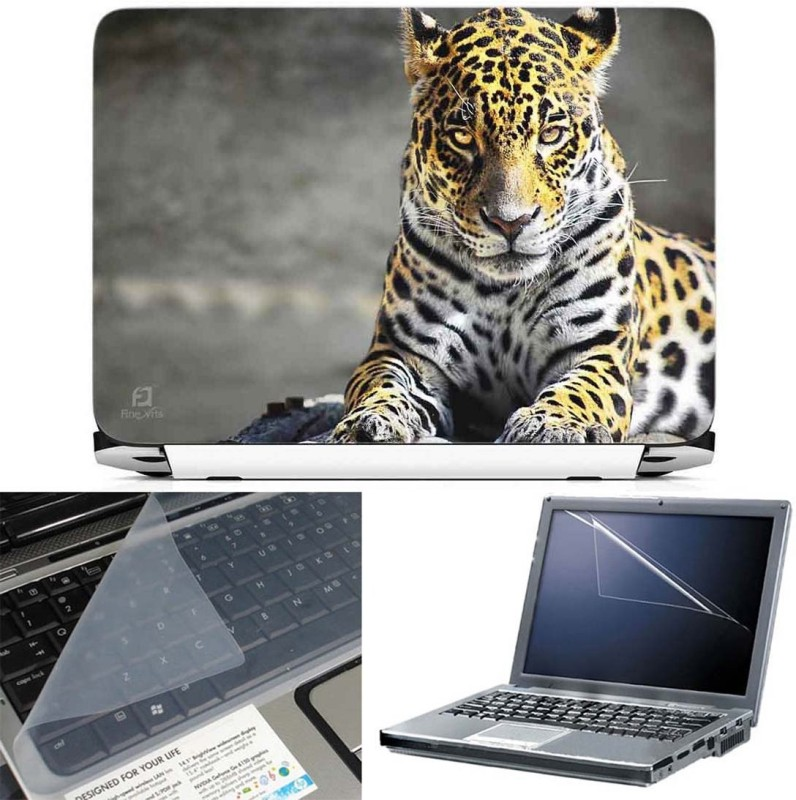 FineArts Leopard 3 in 1 Laptop Skin Pack With Screen Guard & Key Protector Combo Set(Multicolor)