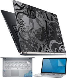 FineArts Floral Black White 4 in 1 Laptop Skin Pack with Screen Guard, Key Protector and Palmrest Skin Combo Set
