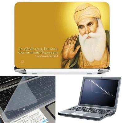 FineArts Guru Nanak Dev Green Dress 3 in 1 Laptop Skin Pack With Screen Guard & Key Protector Combo Set