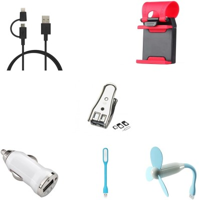 Bigkik 2IN1 CABLE+ STEERING STAND+ SIM CUTTER+ CAR CHARGER+ LED LAMP+ USB FAN Combo Set