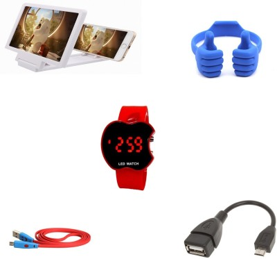 Bigkik SMILEY CABLE+ 3D PHONE SCREEN+ LED WATCH+ OTG CABLE+ OK MOBILE STAND Combo Set