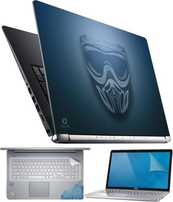 FineArts Mask on Blue 4 in 1 Laptop Skin Pack with Screen Guard, Key Protector and Palmrest Skin Combo Set
