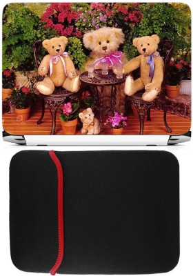 FineArts Teddys Drinking Laptop Skin with Reversible Laptop Sleeve Combo Set