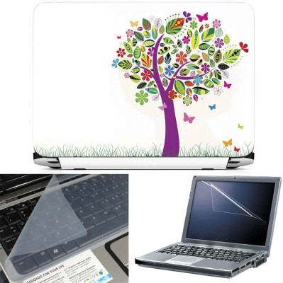 FineArts Colorful Leaves Tree 3 in 1 Laptop Skin Pack With Screen Guard & Key Protector Combo Set