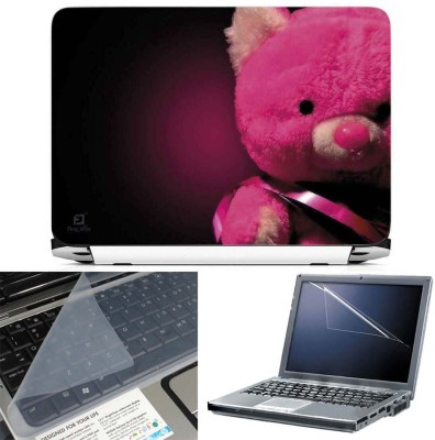 FineArts Pink Teddy Bear 3 in 1 Laptop Skin Pack With Screen Guard & Key Protector Combo Set