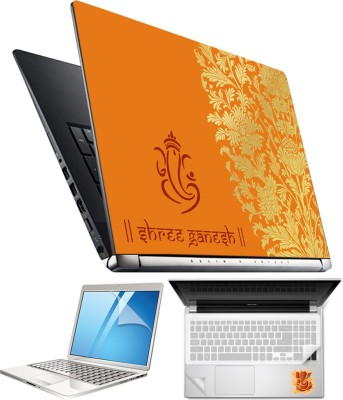 FineArts Lord Ganesh H033 4 in 1 Laptop Skin Pack with Screen Guard, Key Protector and Palmrest Skin Combo Set