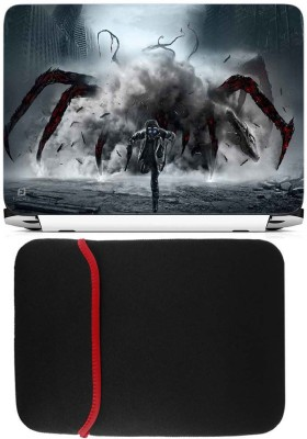 FineArts Spider Laptop Skin with Reversible Laptop Sleeve Combo Set