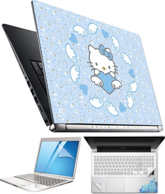 FineArts Hello Kitty Blue 4 in 1 Laptop Skin Pack with Screen Guard, Key Protector and Palmrest Skin Combo Set
