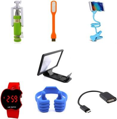 Bigkik MINI SELFIE STICK,LAMP, FLEXIBLE MOBILE STAND, 3D PHONE SCREEN, LED WATCH, OK MOBILE STAND OTG CABLE Combo Set