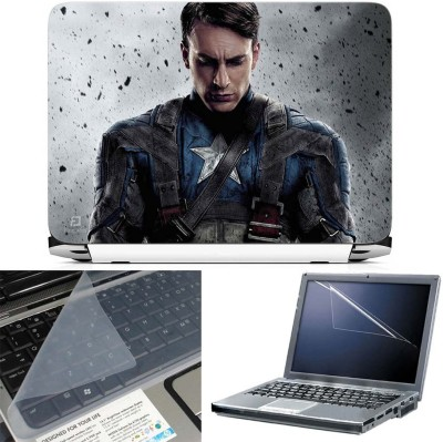 FineArts Captain America Sad 3 in 1 Laptop Skin Pack With Screen Guard & Key Protector Combo Set