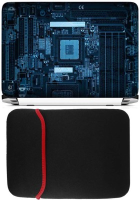 FineArts Motherboard Laptop Skin with Reversible Laptop Sleeve Combo Set