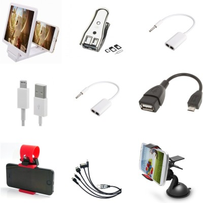 Bigkik 3d Phone Screen+ Sim Cutter+ 3.5mm Audio Jack+ Iphone Cable+ Otg Cable+ Streering Holder+ 5in1 Cable+ Mobile Holder Combo Set