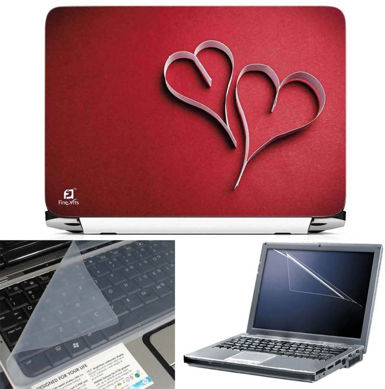 FineArts Two Heart 3 in 1 Laptop Skin Pack With Screen Guard & Key Protector Combo Set(Multicolor)
