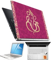 FineArts Lord Ganesh H043 4 in 1 Laptop Skin Pack with Screen Guard, Key Protector and Palmrest Skin Combo Set(Multicolor)
