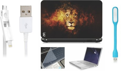 Print Shapes Lion Face shine Laptop Skin with Screen Guard ,Key Guard,Usb led and Charging Data Cable Combo Set