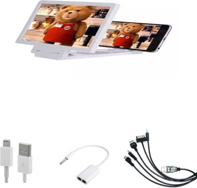 Bigkik 3d Phone Screen+ Iphone Charging Cable+ 3.5mm Audio Jack+ 5in1 Cable Combo Set