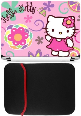 FineArts Hello Kitty Pink Laptop Skin with Reversible Laptop Sleeve Combo Set