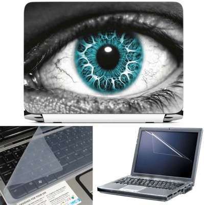 FineArts Abstract Eyes 3 in 1 Laptop Skin Pack With Screen Guard & Key Protector Combo Set