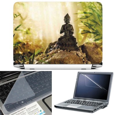 FineArts Buddha on Rock 3 in 1 Laptop Skin Pack With Screen Guard & Key Protector Combo Set