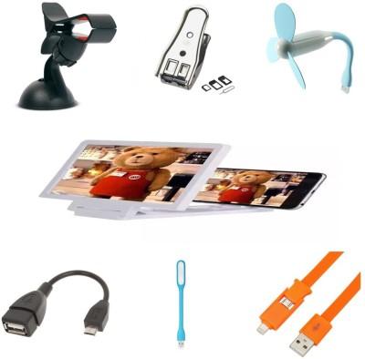 Bigkik Car Holder+ Sim Cutter+ Usb Fan+ 3d Phone Screen+ Otg Cable+ Led Lamp+ 2in1 Cable Combo Set