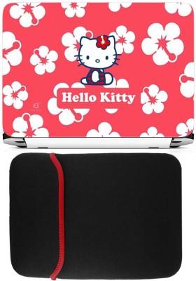 FineArts Hello Kitty Laptop Skin with Reversible Laptop Sleeve Combo Set