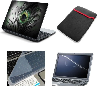 Psycho Art 4in1 Green Feather 15.6 Combo Set MultiColour Laptop Sleeve, Screen Protector, Key Guard, Laptop Skin Combo Set