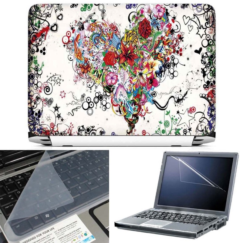 FineArts Abstract Heart 3 in 1 Laptop Skin Pack With Screen Guard & Key Protector Combo Set(Multicolor)
