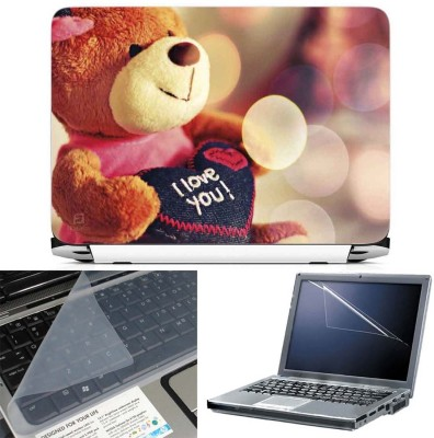FineArts Lovable Teddy Bear 3 in 1 Laptop Skin Pack With Screen Guard & Key Protector Combo Set