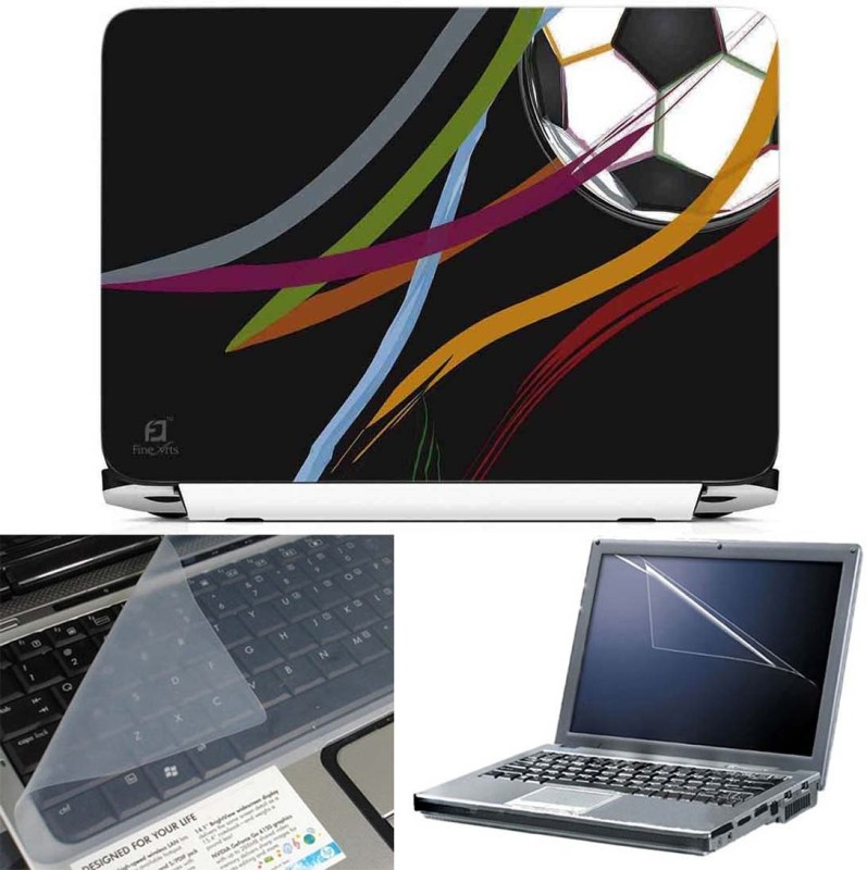 FineArts Football Color Lines 3 in 1 Laptop Skin Pack With Screen Guard & Key Protector Combo Set(Multicolor)