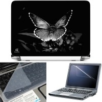 FineArts BW Butterfly 3 in 1 Laptop Skin Pack With Screen Guard & Key Protector Combo Set(Multicolor)