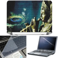 FineArts Hare Krishna 3 in 1 Laptop Skin Pack With Screen Guard & Key Protector Combo Set(Multicolor)