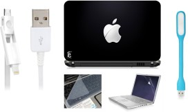 Print Shapes Cut Apple Laptop Skin with Screen Guard ,Key Guard,Usb led and Charging Data Cable Combo Set(Multicolor)