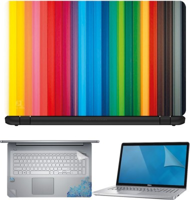 FineArts Color Lines 4 in 1 Laptop Skin Pack with Screen Guard, Key Protector and Palmrest Skin Combo Set