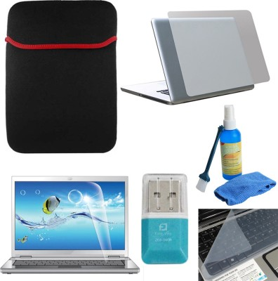 FineArts Transparent 6 in 1 Laptop Skin Pack With Reversible Sleeves, SD Card Reader & Cleaning Kit Combo Set