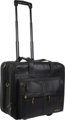 Stamp Leather 17 inch Expandable Trolley Laptop Strolley Bag