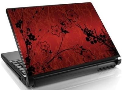Theskinmantra Red N Black N Floral Vinyl Laptop Decal