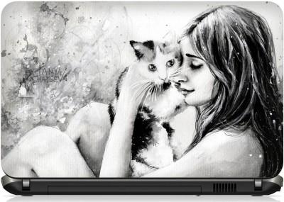 Laptoz Girl Cute Cat ( 15.6 inch X 10 inch) Vinyl Laptop Decal 15.6