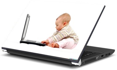 Print Shapes Baby operating laptop Vinyl Laptop Decal 15.6