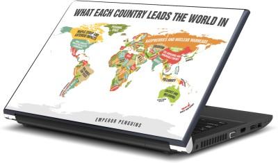 Artifa World Map Showing Leaders Vinyl Laptop Decal 15.6