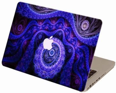 Theskinmantra Blue Fractal Flow Macbook 3m Bubble Free Vinyl Laptop Decal 13.3