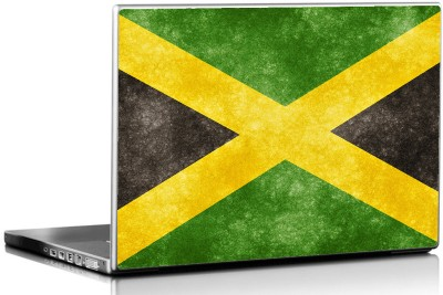 Seven Rays Grunge Jamaican Flag Vinyl Laptop Decal 15.6