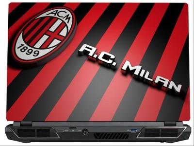 SkinShack AC Milan Logo Red & Black Stripes (10.1 inch) Vinyl Laptop Decal 10.1