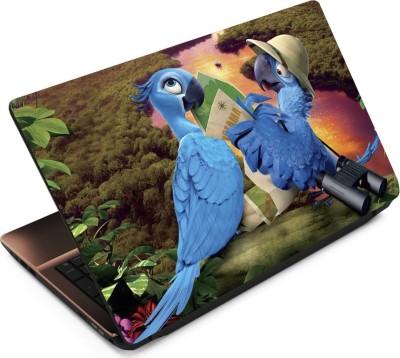 Finest Parrots with Map Vinyl Laptop Decal 15.6