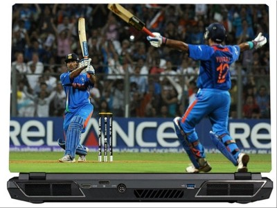 SkinShack MS Dhoni World Cup Winning Six (13.3 inch) Vinyl Laptop Decal 13.3
