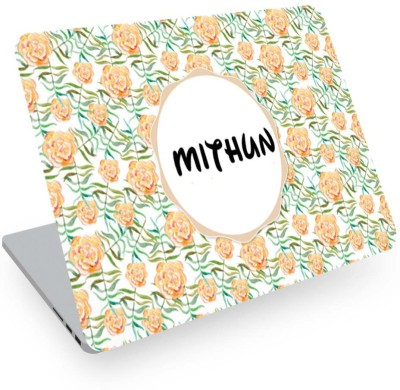 posterchacha Mithun Name Floral Design Laptop Skin Vinyl Laptop Decal 14