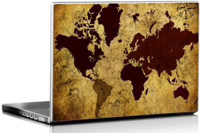 Seven Rays Grunge Vintage World Map Vinyl Laptop Decal 15.6