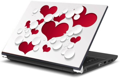Print Shapes 3d red and white heart Vinyl Laptop Decal 15.6