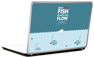 Lab No. 4 Only Dead Fish Go With Flow Quote Vinyl Laptop Decal 17