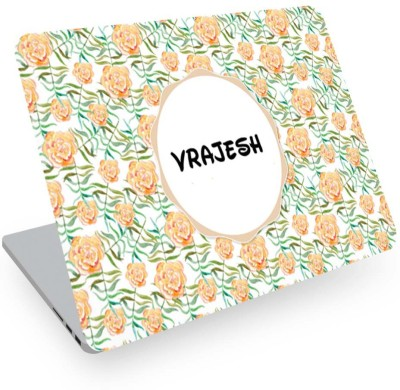 posterchacha Vrajesh Name Floral Design Laptop Skin Vinyl Laptop Decal 14