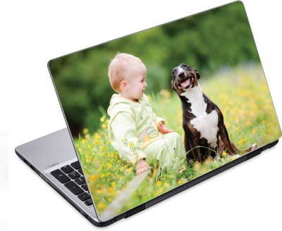 ezyPRNT Dog and Baby Freindship (14 to 14.9 inch) Vinyl Laptop Decal 14